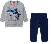 Conjunto Moletom e Calça Tubarão Cinza/Azul Marinho Kyly