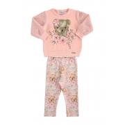 Conjunto Moletom e Calça Ursinha Rosa Bebê Marlan