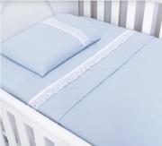 Jogo de Lençol Classic 3 Peças - Azul Batistela Baby
