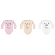 Kit Body Manga Longa Suedine Com 3 Peças Ursinha Branco/ Rosa/ Pêssego  Kiko Baby