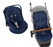 Kit Capa Para Bebê Conforto e Capa Para Carrinho Azul Marinho Batistela Baby
