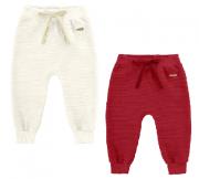 Kit com 2 Calças Bebê Off White/Vermelha Marlan
