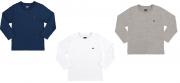 Kit Com 3 Camisetas Básicas Manga Longa Azul Marinho/Cinza Mecla/Branco Marlan