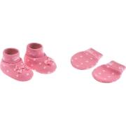Kit Luva e Sapatinho Rosa Com Lacinho Branco Pimpolho