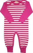 Macacão Manga Longa Listradinho Pink e Branco Estilinhos