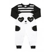 Macacão Manga Longa Panda Branco/Preto Marlan