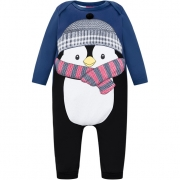 Macacão Manga Longa Pinguim Azul Marinho Kyly
