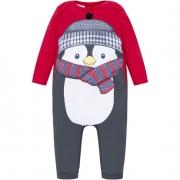 Macacão Manga Longa Pinguim Vermelho Kyly