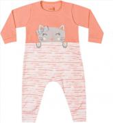 Macacão Manga Longa Suedine Pêssego Kiko Baby