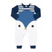 Macacão Manga Longa Pinguim Azul Marinho Marlan