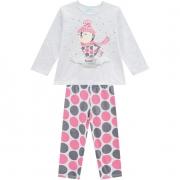 Pijama Brilha No Escuro Blusa e Calça Pinguim Cinza Mescla Kyly