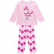 Pijama Brilha No Escuro Blusa e Calça Pinguim Rosa Kyly