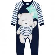 Pijama Macacão Manga Longa Ursinho Azul Marinho Kyly