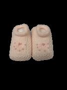 Sapatinho Crochê- Rosa Bebê Com Pérola Bilu Teteia