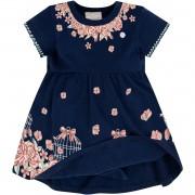 Vestido e Body Embutido Flores Azul Marinho Milon