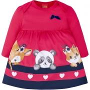 Vestido e Body Embutido Bichinhos Pink/Azul Marinho Kyly