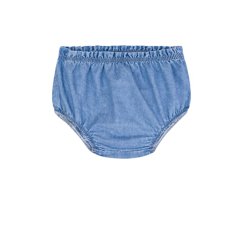 Batinha em Malha Jacquard e Tapa Fraldas Jeans - Kukie