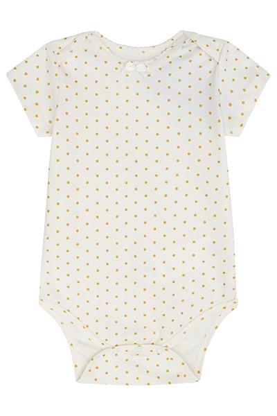 Body em Suedine Branco com Bolinhas - Infanti