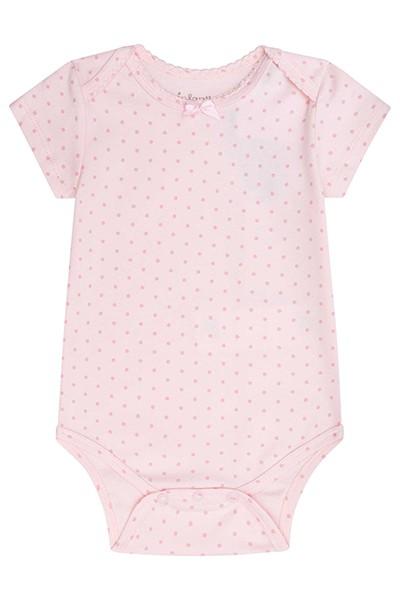 Body em Suedine Rosa com Bolinhas - Infanti