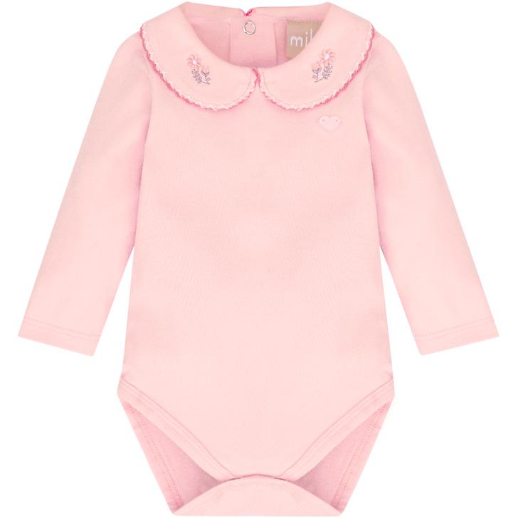 Body Manga Longa Bebê Florzinha Rosa Milon