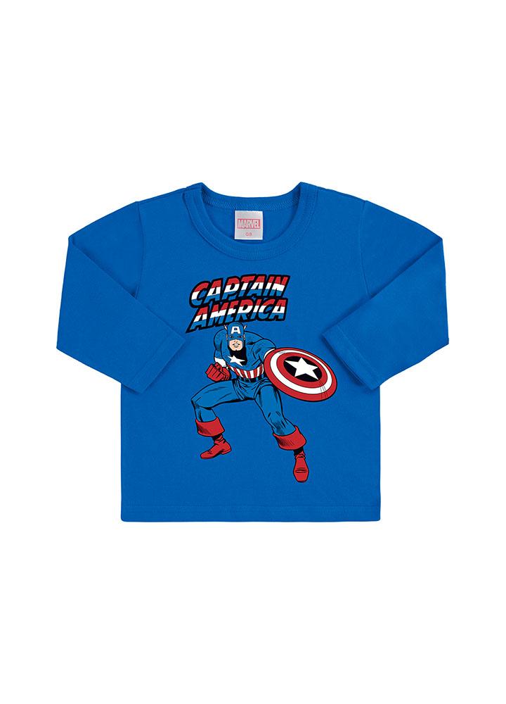 Camiseta Manga Longa Capitão América Azul Bic Marlan