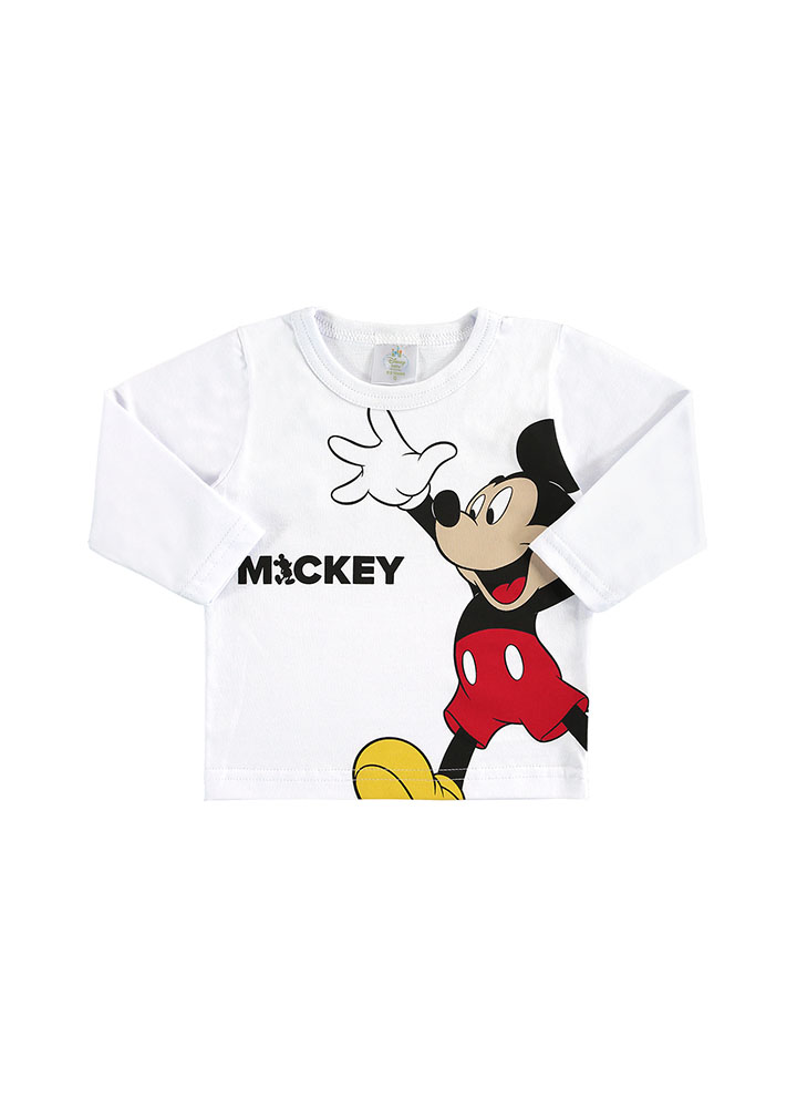 Camiseta Manga Longa Mickey Branco Marlan