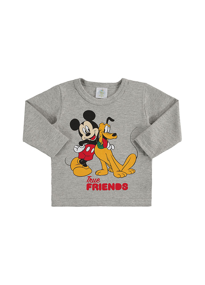 Camiseta Manga Longa Mickey e Pluto Cinza Mescla Marlan