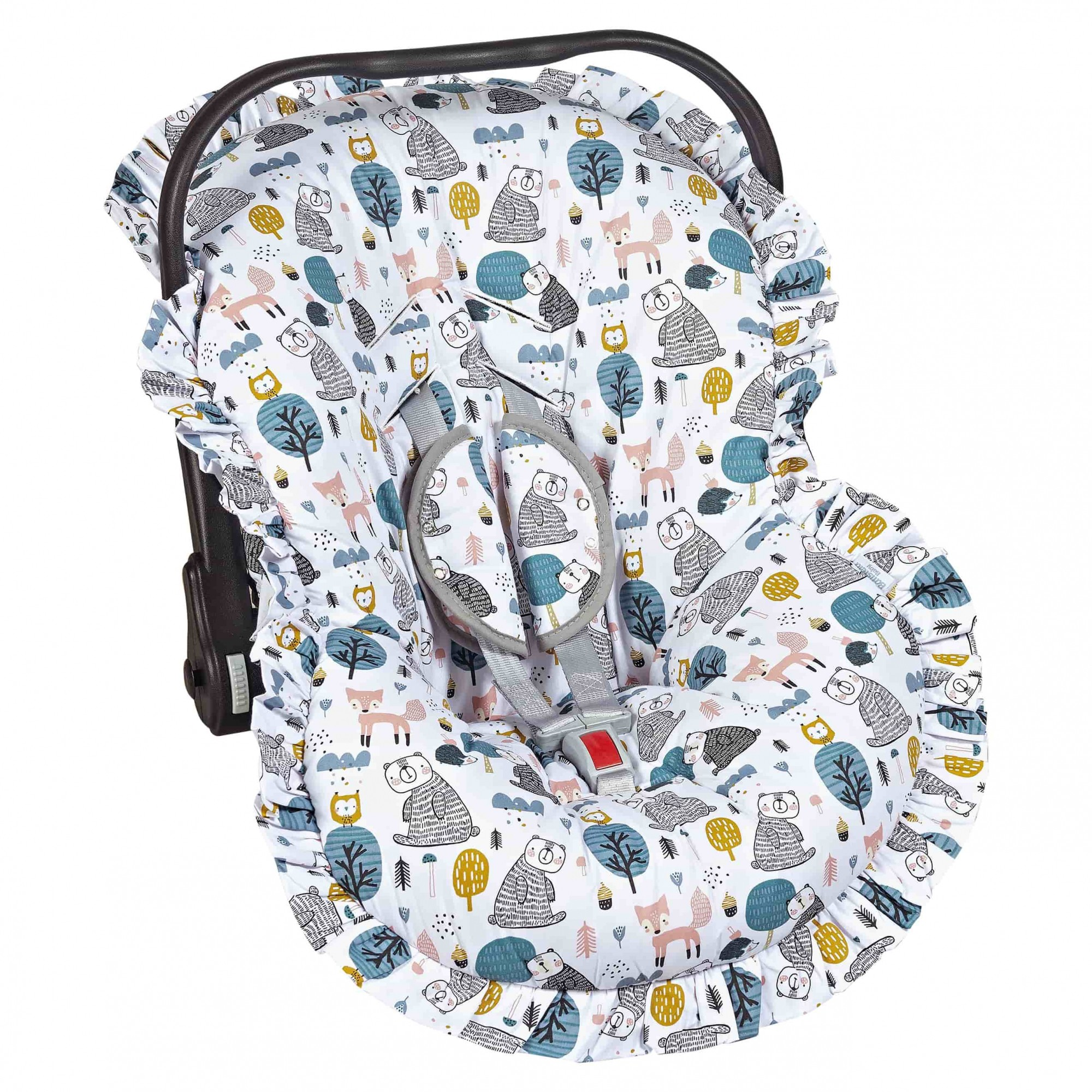 Capa Bebê Conforto Ajustável Estampada 3 Peças - Urso Batistela Baby