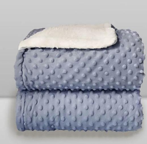 Cobertor Sherpam Dots Bolinhas Azul Perolado Laço Bebê