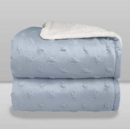 Cobertor Sherpam Stars Azul Claro Laço Bebê