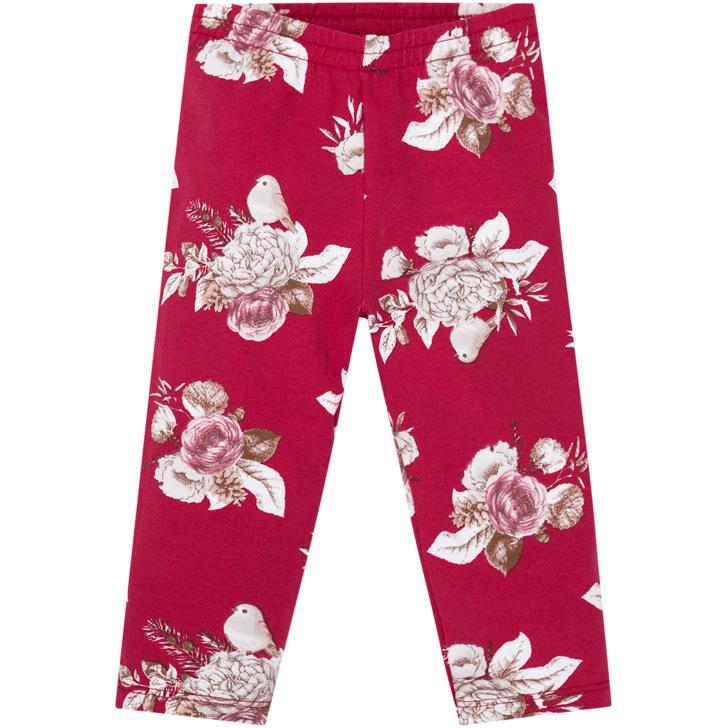 Conjunto Body e Calça Flores Branco/Vermelho Milon