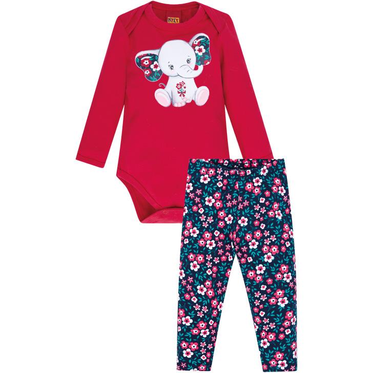 Conjunto Body Manga Longa e Calça Elefantinho Vermelho/Azul Marinho Kyly