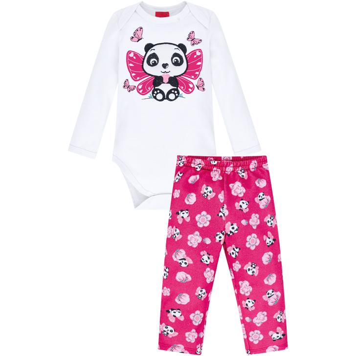 Conjunto Body Manga Longa e Calça Panda Branco/Pink Kyly