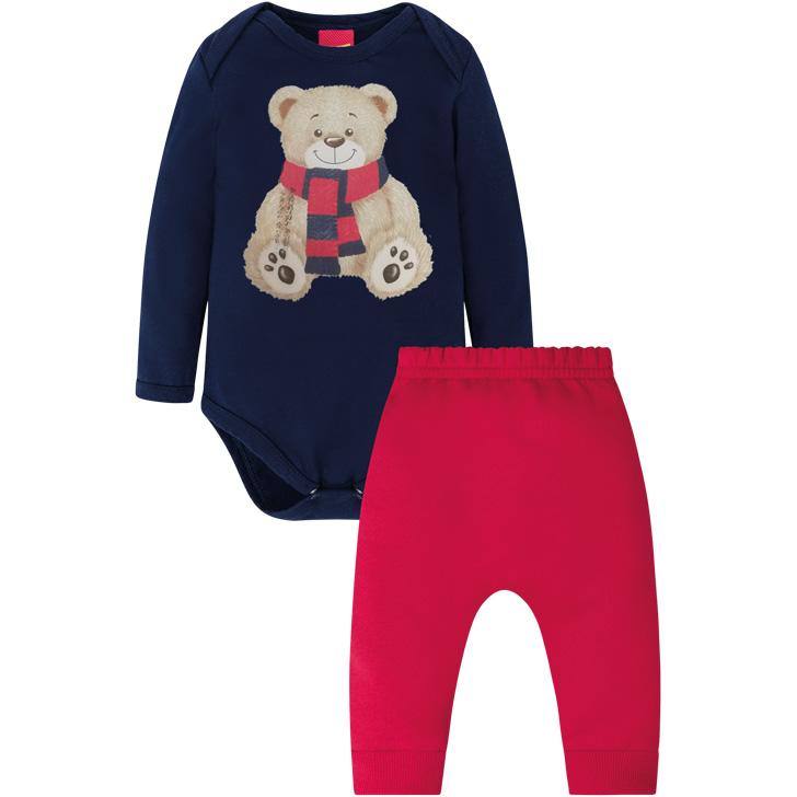 Conjunto Body Manga Longa e Calça Ursinho Azul Marinho/Vermelho Kyly