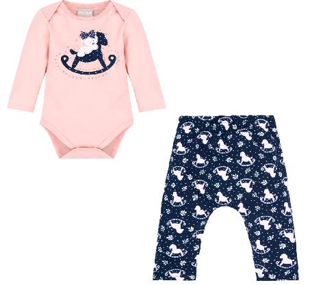 Conjunto Body Manga Longa e Calça Ursinho e Cavalinho Rosa/Azul Marinho Milon