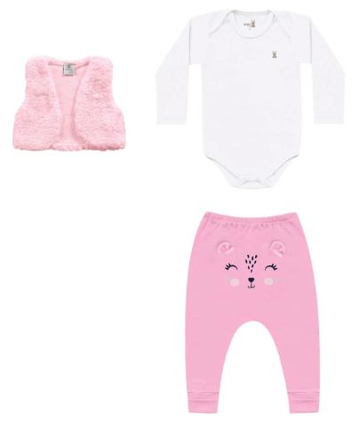 Conjunto Coletinho, Body e Calça  Branco Kiko Baby