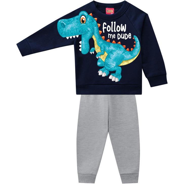 Conjunto Moletom e Calça Dinossauro Azul Marinho Kyly