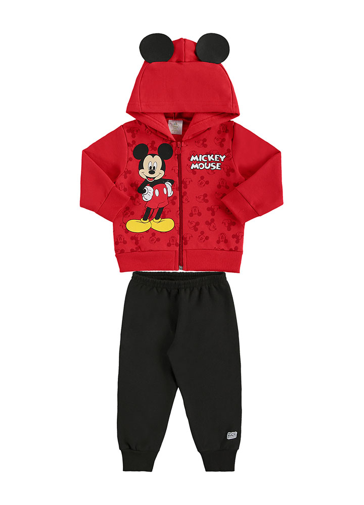 Conjunto Moletom Zíper/Capuz e Calça Mickey Mouse Vermelho/Preto Marlan