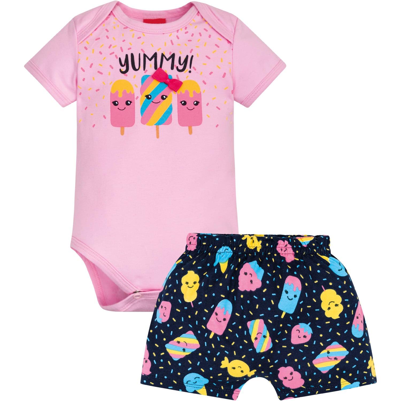 Conjunto Body e Short Docinho Rosa Cupcake Kyly