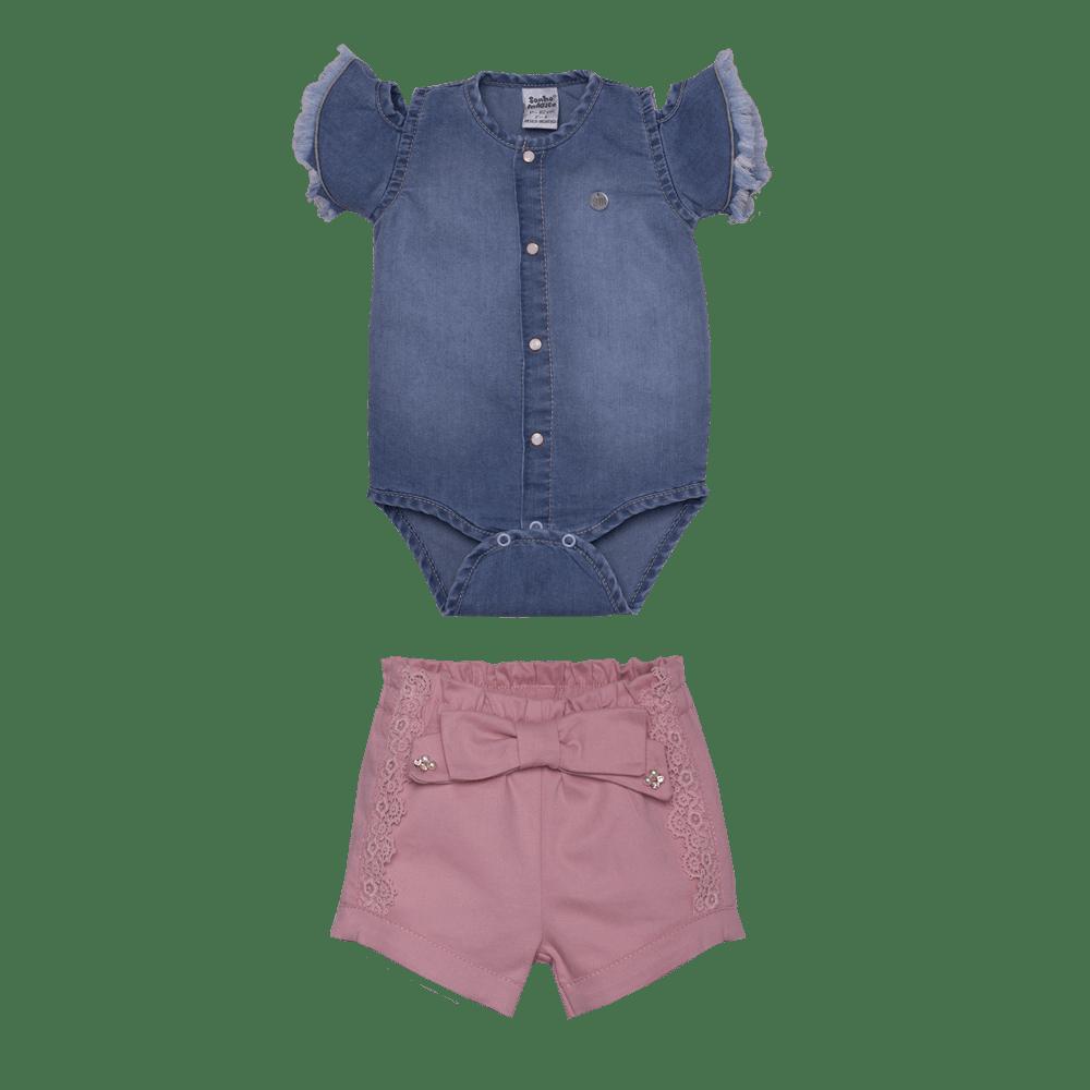 Conjunto Tecido/Jeans Powerful Girl Sonho Mágico 2 PCS
