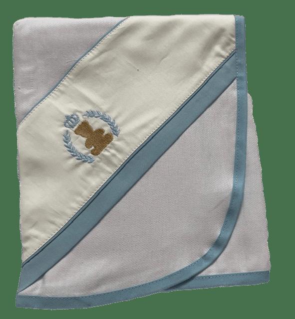Cueiro Ursinho Com Coroa Azul Claro Bilú Tetéia