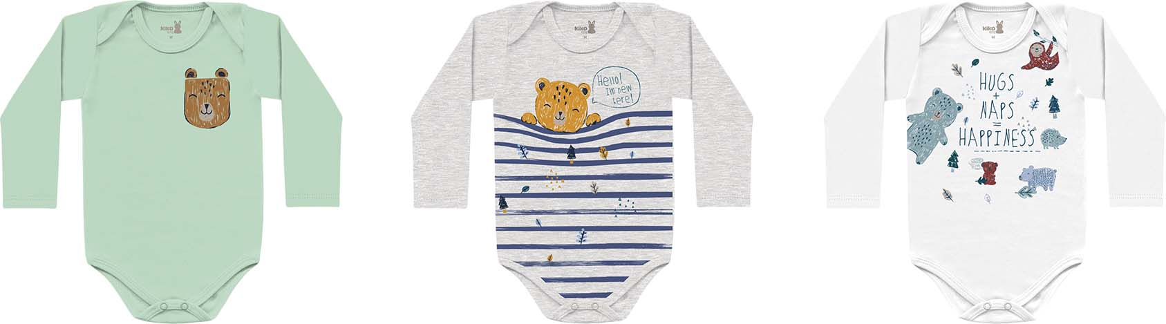 Kit Body Manga Longa Suedine Com 3 Peças Bicho Preguiça Branco/Urso Mescla/ Urso Verde Kiko Baby
