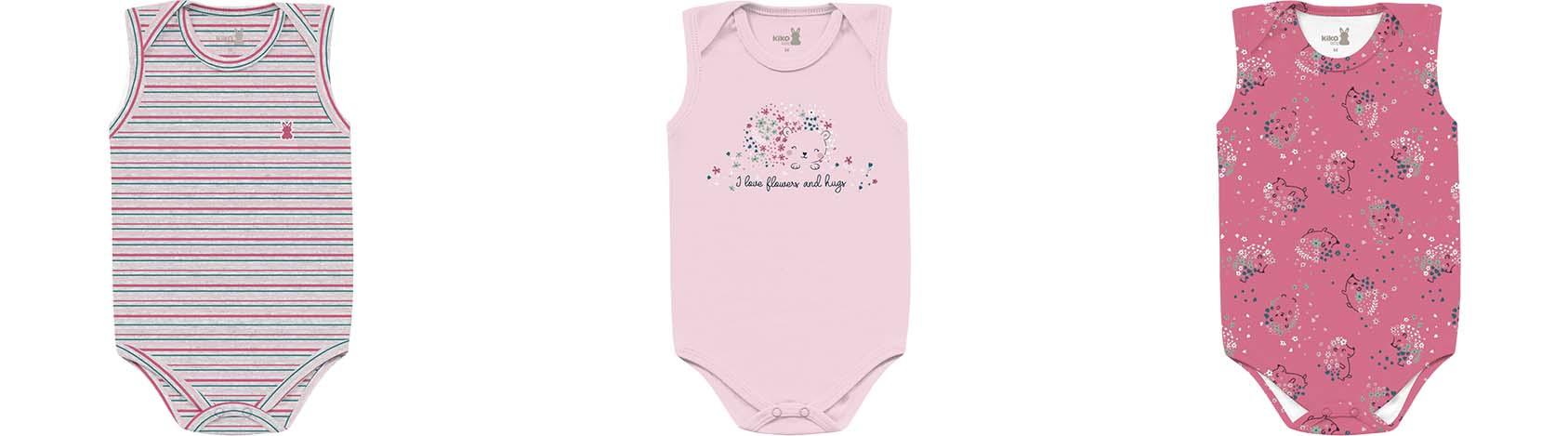 Kit Body Regata 3 Peças Porco Espinho Pink/Listadinho/Rosa Kiko Baby