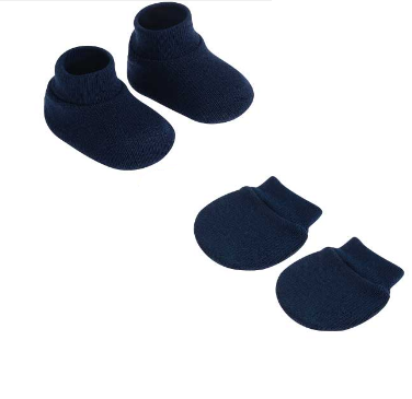 Kit Luva e Sapatinho Azul Marinho Pimpolho