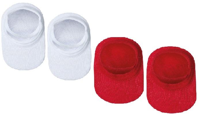 Kit Meias Com 2 Pares Sapatilha Branco e Vermelho Lupo Baby