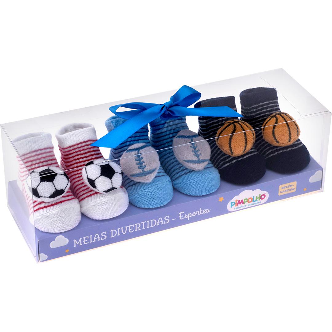 Kit Meias Com 3 Unidades Bola de Futebol Pimpolho