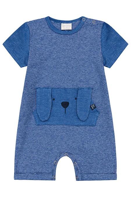 Macacão Curto em Suedine Listrado Fio Tinto Azul - Luc.Boo