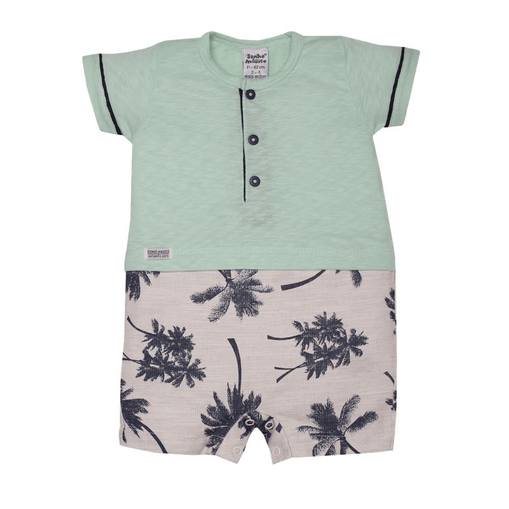 Macacão Curto Plano/Malha Palm Tree Sonho Mágico Verde