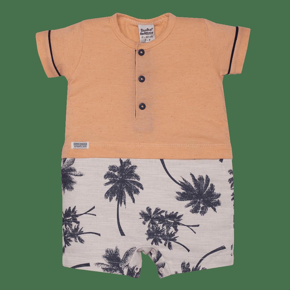 Macacão Curto Plano/Malha Palm Tree Sonho Mágico Laranja