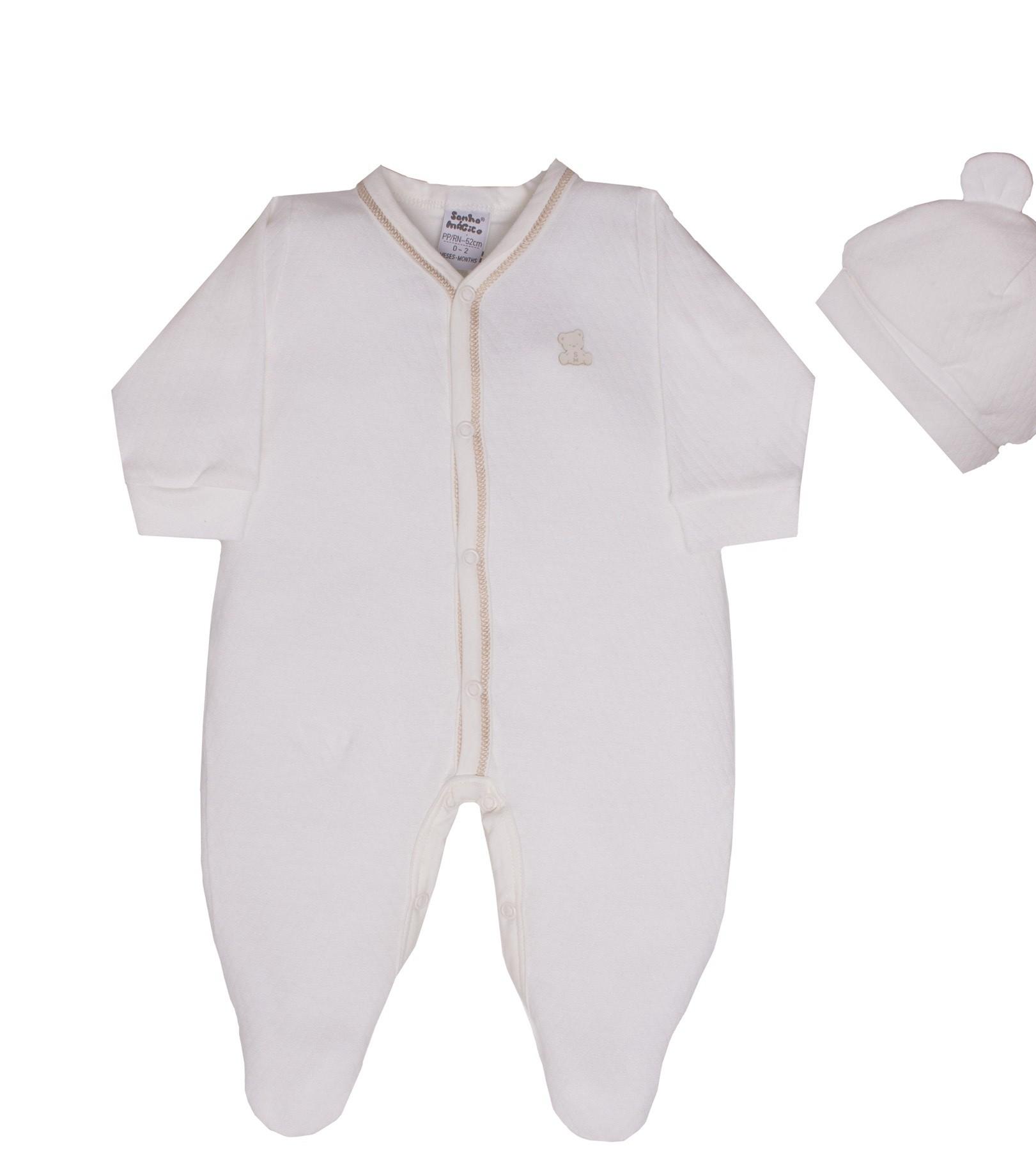 Macacão Longo Malha Neutro Baby Bear 2PCS Sonho Mágico